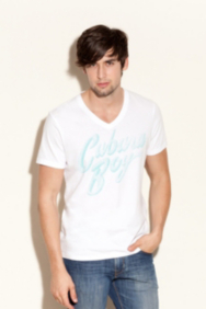 Basic Short-Sleeve V-Neck Tee with Cabana Boy