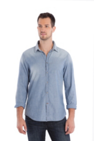 Long-Sleeve Dot Chambray Shirt