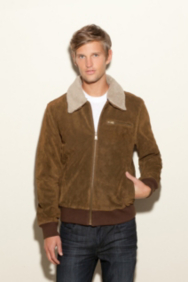 Suede Bomber Jacket with Sherpa Collar