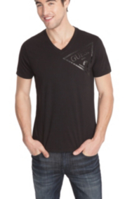 Basic V-Neck Triangle Logo Tee