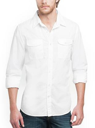 Versatile and easy to wear, this woven shirt is specially washed for an ultra-soft feel that will only get better with time. With a regular fit and signature branded details, this button-down is an essential for every stylish guy.  •Woven poplin shirt. Pointed collar. Long sleeves with single barrel cuffs. Regular Laguna fit.  •Two flap patch pockets with button closures. Shirttail hem.  •Signature triangle logo buttons  •100% Cotton •Machine wash