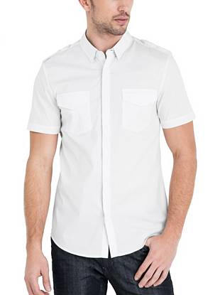 Get the Smart Slim Fit you rely on in a new short-sleeve version. A stretch cotton blend, epaulettes and contrast trim are just a few of the details that make this an easy-to-wear, stand-out shirt.   •Stretch woven shirt. Pointed collar. Short sleeves. Smart Slim Fit.  •Two flap patch pockets. Contrast trim along inside collar stand and inside placket. Epaulettes.  •Front button closures with hidden placket •97% Cotton, 3% Lycra® •Machine wash