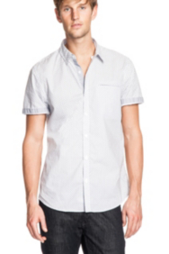 Dean Smart Slim-Fit Short-Sleeve Shirt in Stamp Print