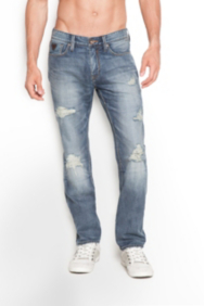 Lincoln Destroyed Jeans in Soldier Wash, 32 Inseam