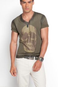 Coated Studded Skull Tee