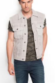 Lucas Denim Vest in Asteroid Wash