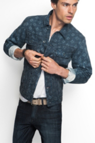 Geo-Print Denim Jacket