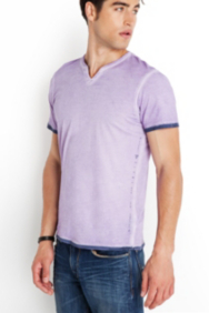 Hart Slit-Neck Tee with Dip-Dyed Hem