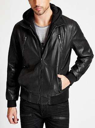 This hooded faux-leather jacket is exactly what your wardrobe needs. Its rugged-casual appeal and layered look keeps you both on-trend and comfortable.