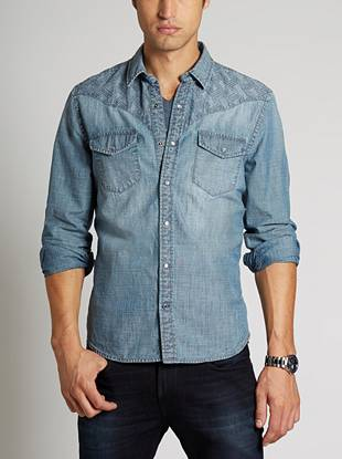 Bring some rugged Western appeal to your low-key looks with this soft chambray shirt. Great for layering or wearing on its own, the modern slim fit and embroidered detail raise the bar for casual style.