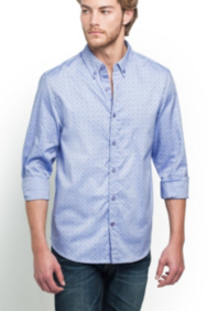 Two-Tone Dot Oxford Slim-Fit Shirt
