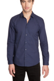 Long-Sleeve Tonal Dot Shirt