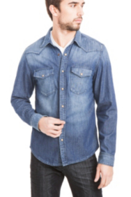Basic Long-Sleeve Denim Shirt
