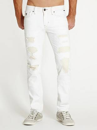 WHY YOU NEED IT: This is our perfect slim cut that's fitted all the way through but not too tight. With its white shade and patchwork design, this destroyed pair is ideal for warm-weather style. It's made with medium-weight non-stretch American denim and each pair is truly one of a kind.      FIT DETAILS: 10