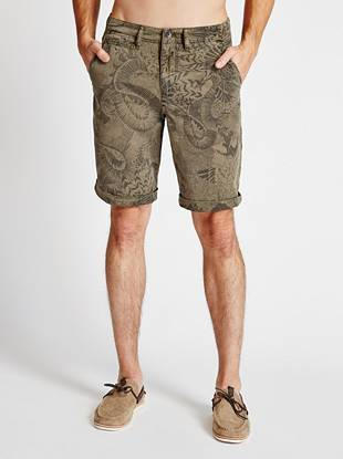 Street-wise cool with modern appeal: these ruggedly stylish shorts are your new summer go-to. An allover tattoo-inspired print adds the distinctive detail you're known for.