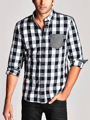 Work the buffalo plaid trend into your looks with this casual black and white shirt. Contrast chambray and an ultra-soft finish deliver stylish comfort you can wear anywhere.