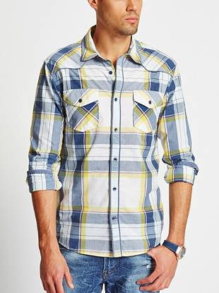 Change up your button-down rotation with this perfectly on-point shirt. Season-right color, an allover plaid pattern and a rugged, pieced yoke make it a must.