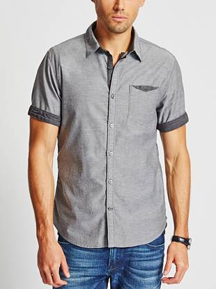 A clean look and unique contrasting detail adds a modern vibe to this wear-everywhere button-down. Its regular fit and classic style pulls together any look.