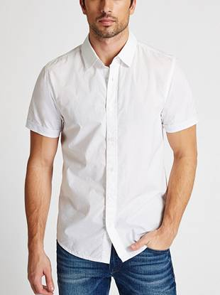 Bring a fresh, season-right vibe to any setting in this short-sleeve button-down. Contrasting striped trim adds a smart touch.