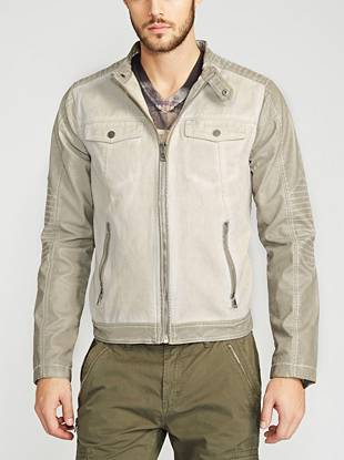 A current favorite, this easy-to-wear denim jacket is one piece every guy needs to own. Its rugged-casual color and moto detailing create a timeless, worn-in look.