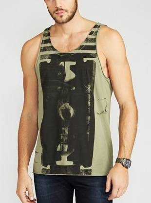 Quite possibly our most rebellious style of the season, this sleeveless tank brings casual-cool appeal to laid-back looks.