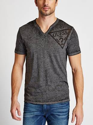 A trend-right update to our basic logo tee, this short-sleeve shirt is a casual must-have. An allover burnout effect, slit neck and super-soft knit bring distinctive style to your relaxed looks.