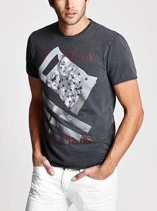 Vintage inspired with modern GUESS appeal, this tee is soon to be a fast-and-forever favorite. Super-soft jersey, a unique front graphic and raw edge detail team up to create a distinctive look for everyday style.