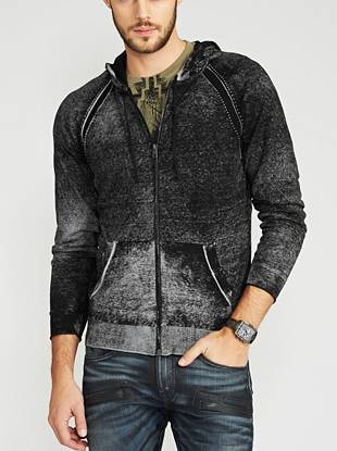 A modern take on a classic sweater, this long-sleeve zip-up is all about the details. Its ultra-soft construction, allover bleached effect and relaxed style make it the ultimate hang-out piece.