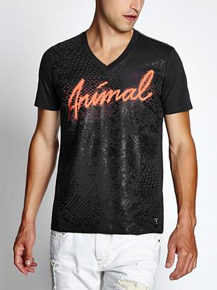 A comfortable tee featuring a neon