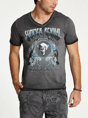 This V-neck tee is a modern style essential for your low-key looks. An edgy skull-inspired graphic print and overall worn-in vibe add rugged appeal.