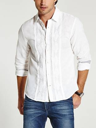 Mix up your collection of basic button-downs with this timeless shirt. Linen construction and classic embroidered detail provide distinctive, easygoing style.
