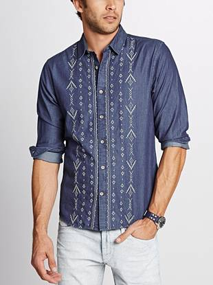 Featuring soft denim construction and distinctive embroidered detail, this shirt perfectly walks the line between casual and dressed up.