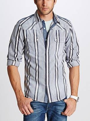 As seen in the Spring/Summer 2014 Campaign  An allover striped pattern in a classic, regular fit—this long-sleeve shirt gives your everyday looks distinct, pulled-together style. Dress it up or down for a casual-cool vibe that's comfortable and easy to wear.