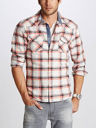 A plaid pattern in a slim, tailored fit is perfect for your day-to-day style. Linen-blend construction and Western-inspired detail add the laid-back touches you're known for.