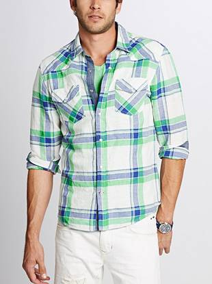 Confident, colorful plaid brings an all-new look to this button-down. Constructed from a lightweight linen-cotton blend, this comfortable shirt delivers instant style.