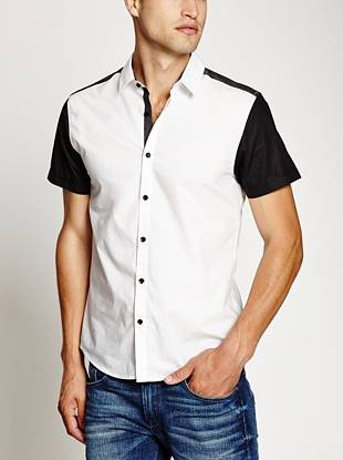 A crisp button-down with a modern slim fit, color-blocking and summer-ready short sleeves.