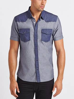 Crisp and clean, this casual shirt is a definite must-own. Its blocked design and pieced yoke make put-together looks a breeze.