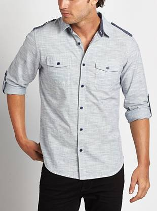 Make a timeless yet modern style statement in this slim-fit button-down. An allover fleck pattern and dual shoulder tab detail pull the look together.