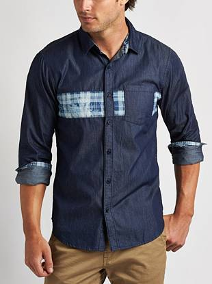 Round out your casual-rugged looks with this mixed chambray button-down. Contrasting plaid construction adds a modern vibe.