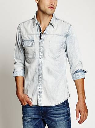 Lightweight and super soft, this chambray shirt is ideal for layering or wearing on its own. The light stone wash gives it a casual, lived-in vibe.