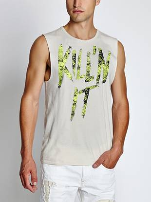 Add some intensity to your relaxed looks in this unapologetic muscle tank. A neon reptile-inspired typographic print and raw edges make it your new weekend go-to.