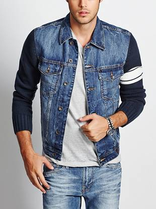 Classic denim and sweater sleeves with a striped pattern add rugged edge to this casual jacket.
