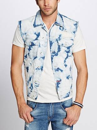 Bleached out and destroyed for a worn-in look, this denim vest brings trend-focused direction to your style.