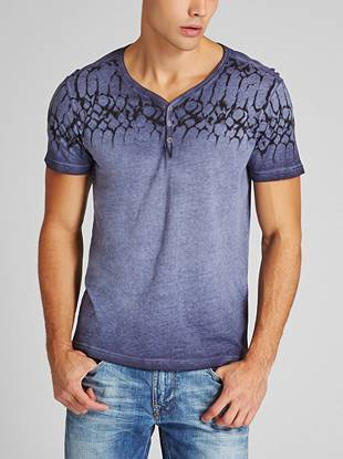 A faded wash and reptile-inspired print only add to the rugged appeal of this super-soft henley.