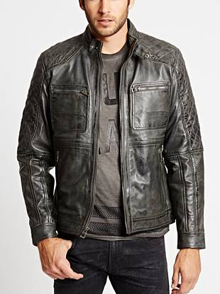 Cruise through season after season in this naturally worn-in leather jacket. Quilted details and edge-driven zippers mix with the distressed exterior to bring you this on-the-road essential.
