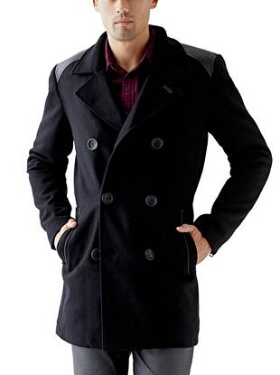 Stay warm and in style with this polished wool-blend peacoat. Faux-leather details give it just the right amount of edge to complement your rocker-inspired looks.