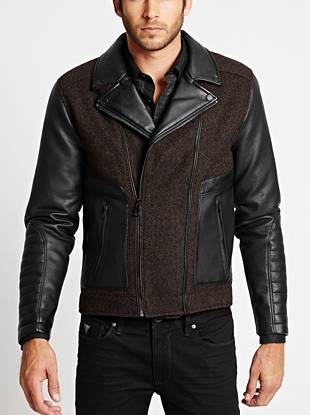 Wool-Blend and Faux-Leather Mixed Jacket