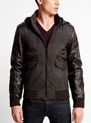 A modern, mixed-material design gives this jacket a rugged-yet-on-trend look. Plus, the removable zippered hood lets you wear it multiple ways, making it ideal for the guy on the go.