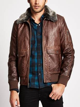 The aviator trend is one that never goes out of style, which is why this faux-leather jacket is one you'll wear year after year. The faux-fur collar and fitted ribbed contrast give you that iconic '80s pilot-inspired look.