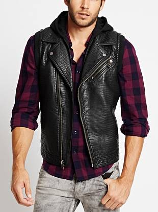 Get that most-wanted I'm-in-the-band look by layering on this reptile-embossed moto vest. Knit contrast brings athletic-inspired appeal to the faux-leather design, making it ideal for the casual night-out scene.